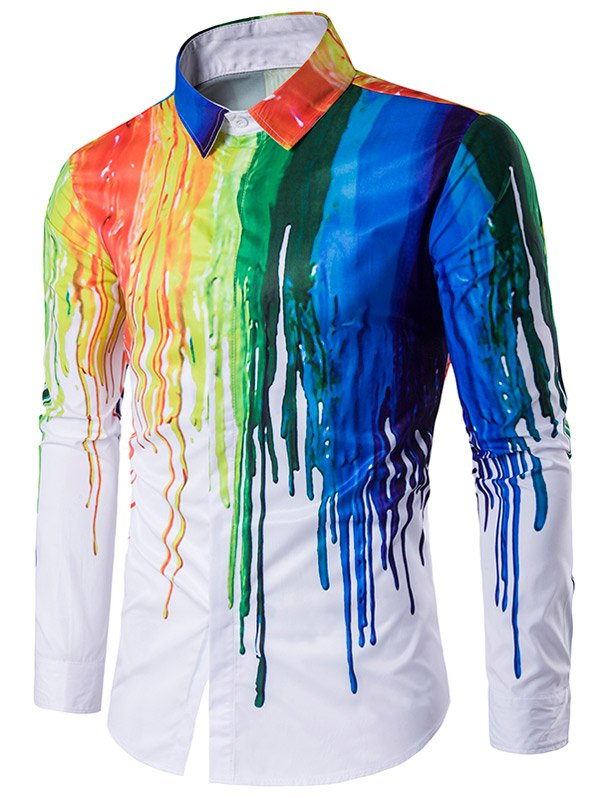 Buy Turndown Collar Colorful Splatter Paint Print Long Sleeve Shirt WHITE