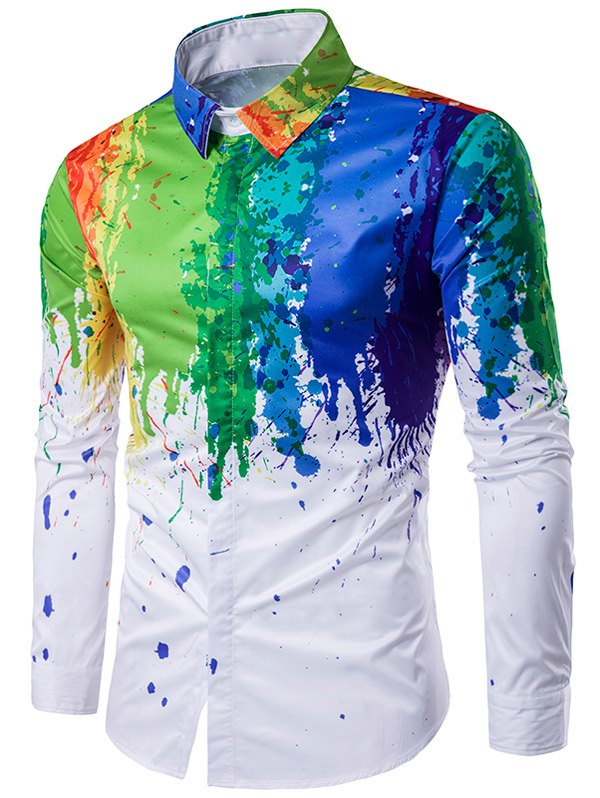 Turndown Collar Colorful Splatter Paint Printed Long Sleeve Shirt - WHITE 2XL