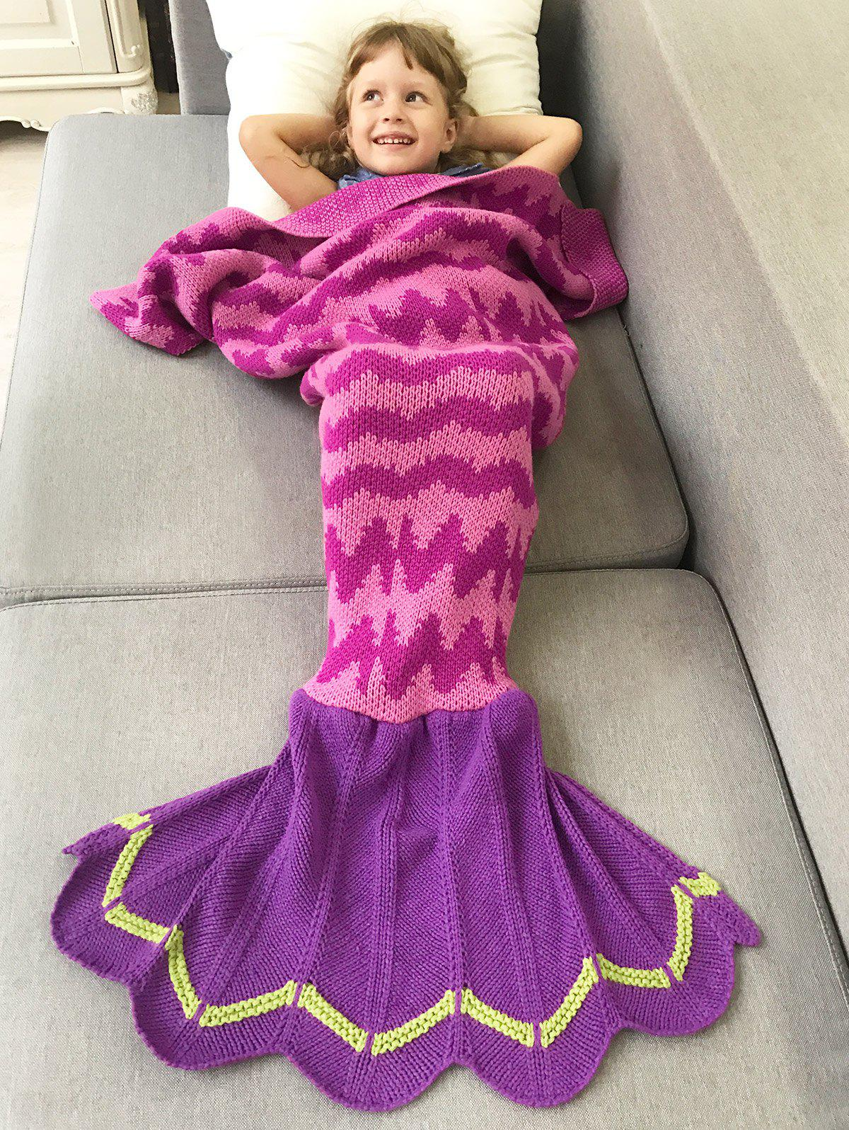 Winter Warmth Wavy Design Knitted Bedding Fish Tail Blanket winter