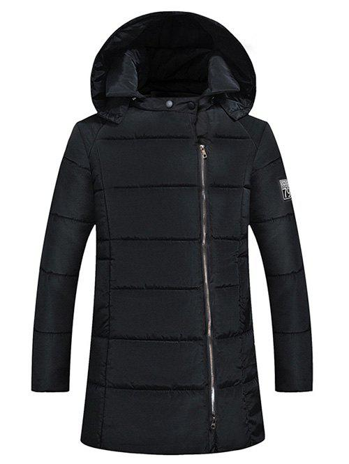 Side Zip Up 79 Patch Padded Hooded Coat - BLACK M