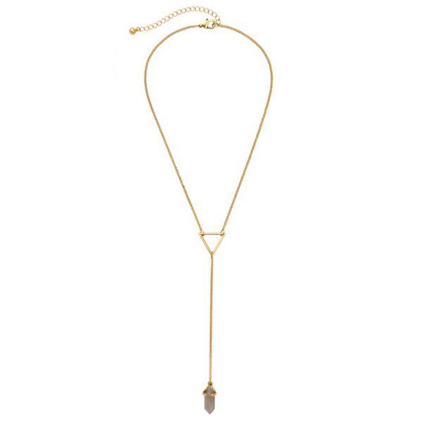 Triangle Alloy Bullet Natural Stone NecklaceJewelry<br><br><br>Color: GOLDEN