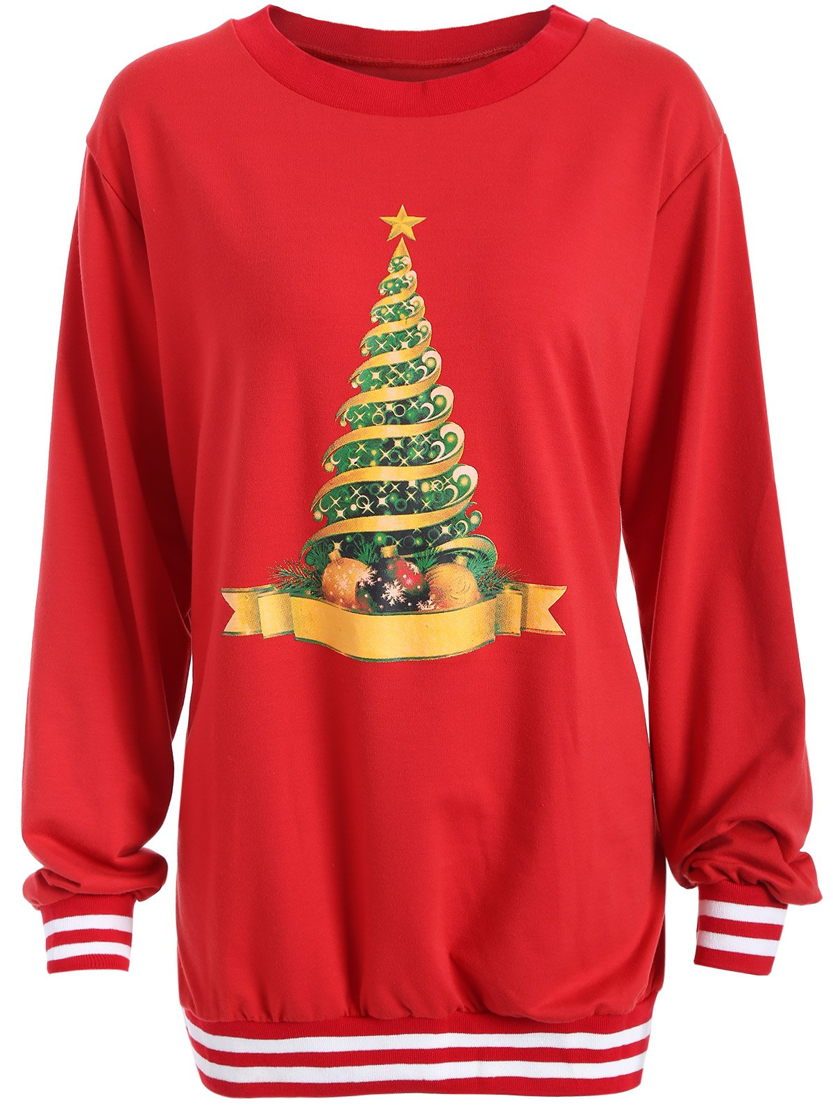 Christmas Tree Varsity Striped SweatshirtWomen<br><br><br>Size: 2XL<br>Color: RED