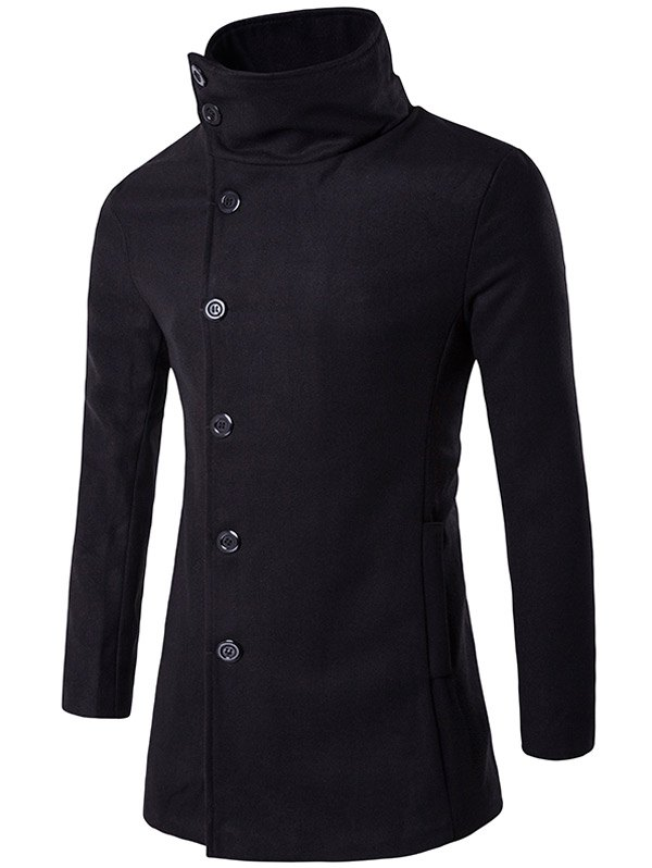 Turndown Collar Side Single Breasted Wool CoatMen<br><br><br>Size: M<br>Color: BLACK