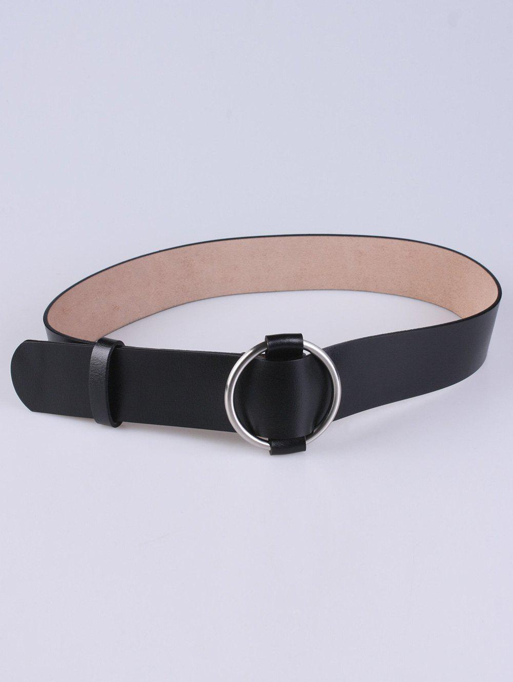Adjustable PU Round Buckle Belt, Black
