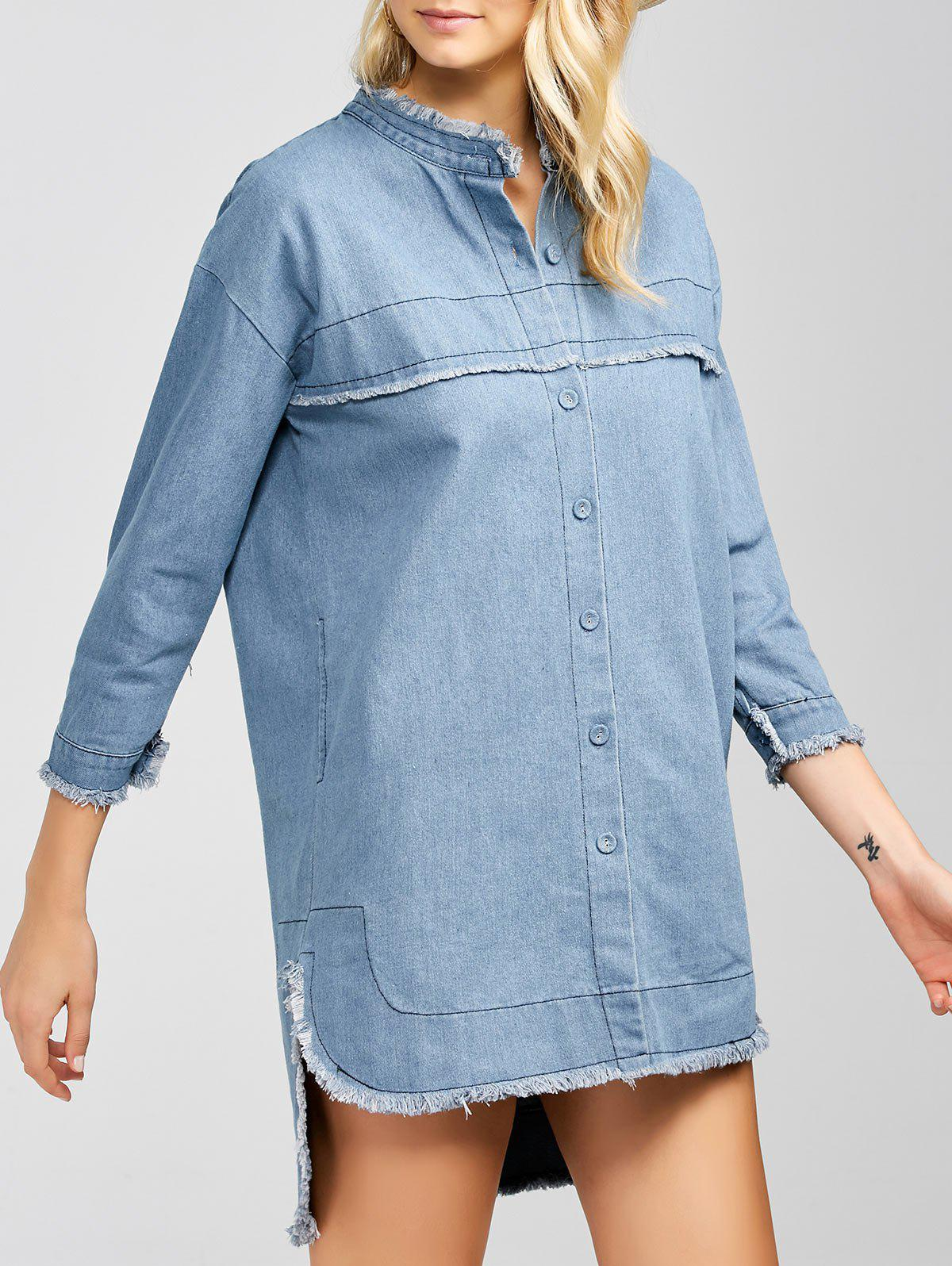High-Low Ripped Denim Dress - LIGHT BLUE 2XL