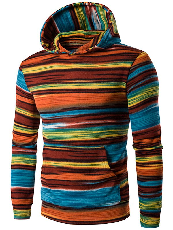 Sweat à capuche à rayures multicolores à manches longues - Orange XL
