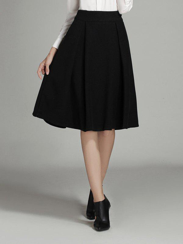 wool ruched a line circle skirt black l in skirts