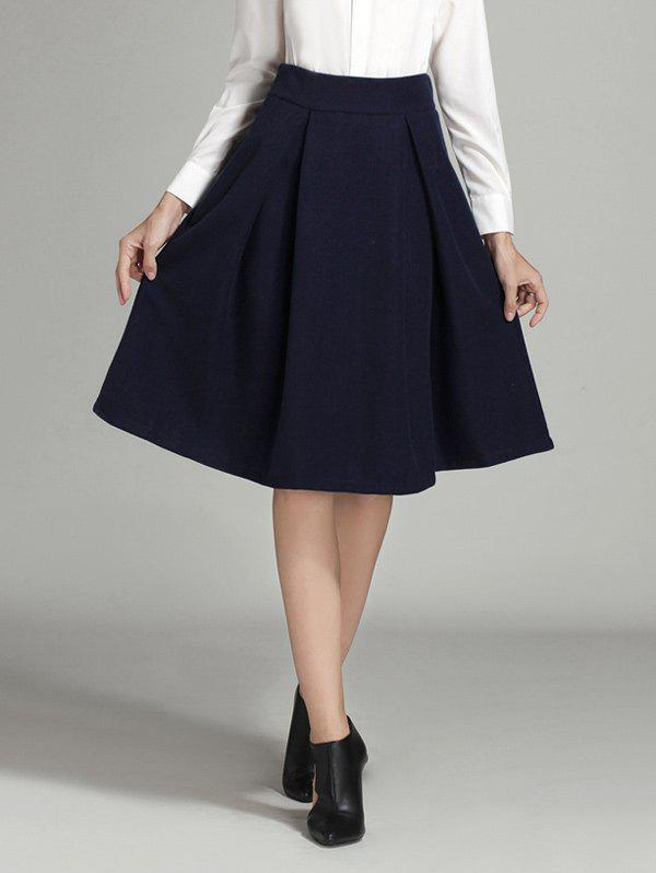Wool Ruched A Line Circle Skirt - PURPLISH BLUE XL