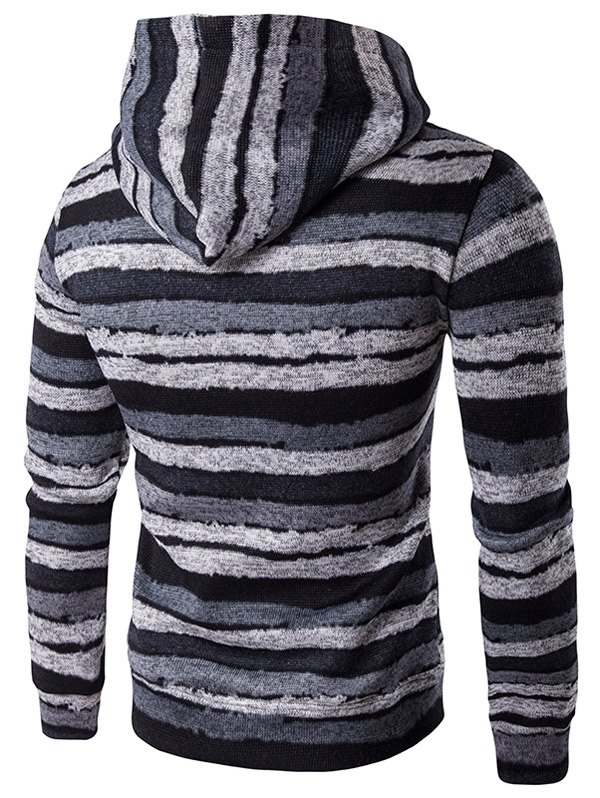 Stripe Print Hooded Long Sleeve Hoodie - GRAY M