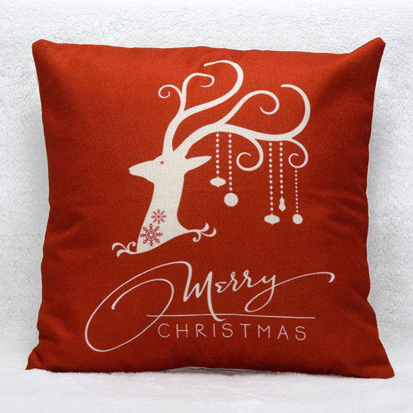 Christmas Elk Pattern Cushion Throw Pillow Cover christmas sock linen cushion throw pillow cover