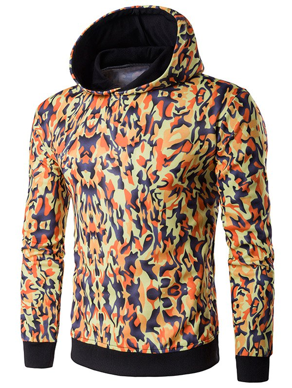Camouflage Pattern Hooded Long Sleeve Hoodie - ORANGE L