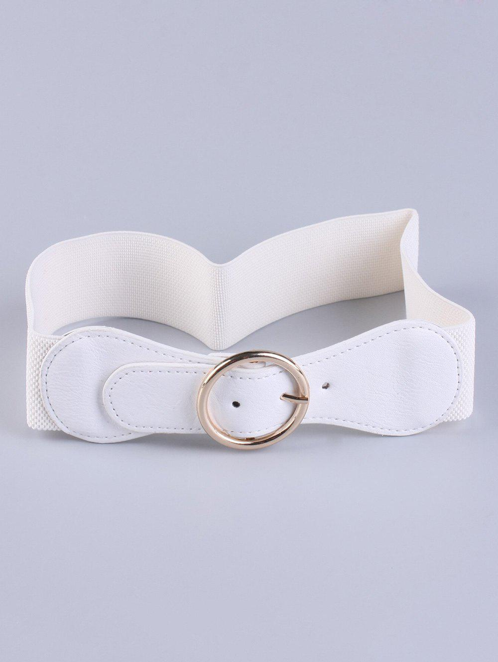 Bowknot Round Buckle Cinch Waist Belt - WHITE