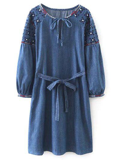 Embroidered Belted Vintage Dress eyelet embroidered self belted dress