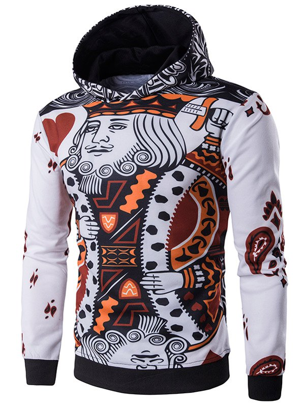 Pullover 3D Poker King Print Hoodie - WHITE L