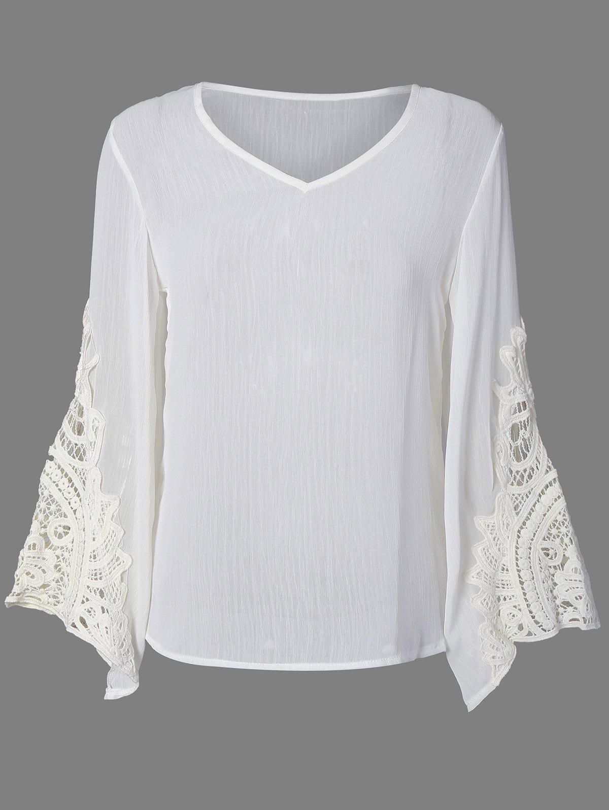все цены на Flare Sleeve Lace Insert Hollow Out Blouse