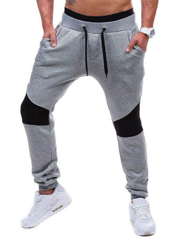 Sportive Drawstring Waist Insert Jogger Pants - LIGHT GRAY M