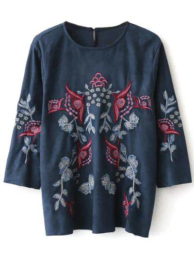 Embroidered Faux Suede Fitting Blouse - PURPLISH BLUE S