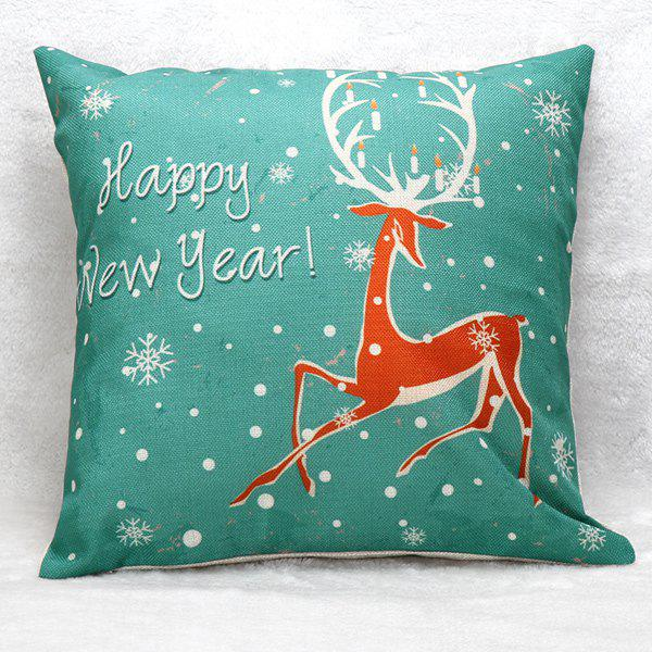 New Year Christmas Elk Pattern Home Throw Pillow CaseHome<br><br><br>Color: GREEN