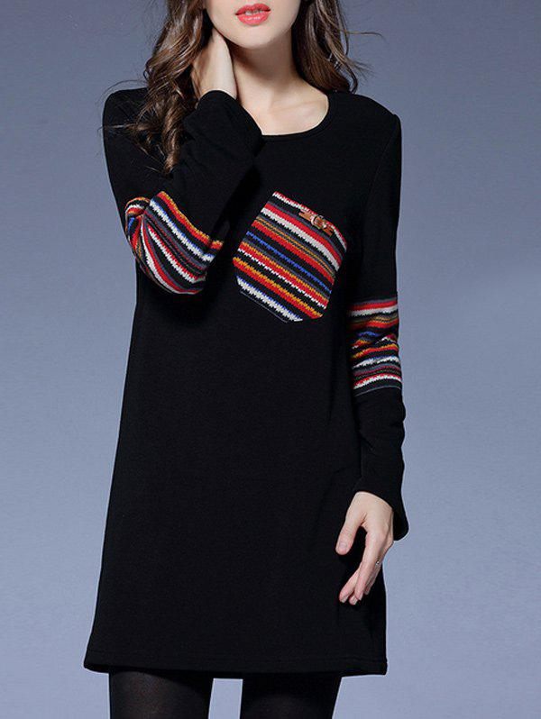 Stripe Pocket Patched Long Sleeve Tee Dress