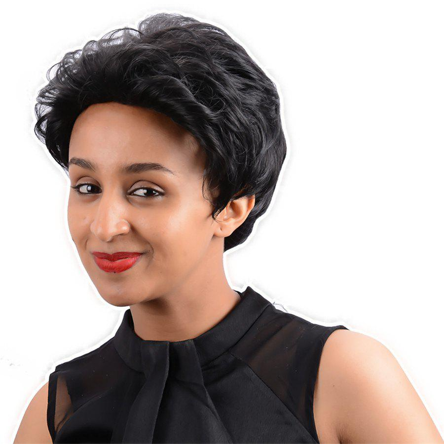 Ultrashort Curly Capless Synthetic Wig - BLACK