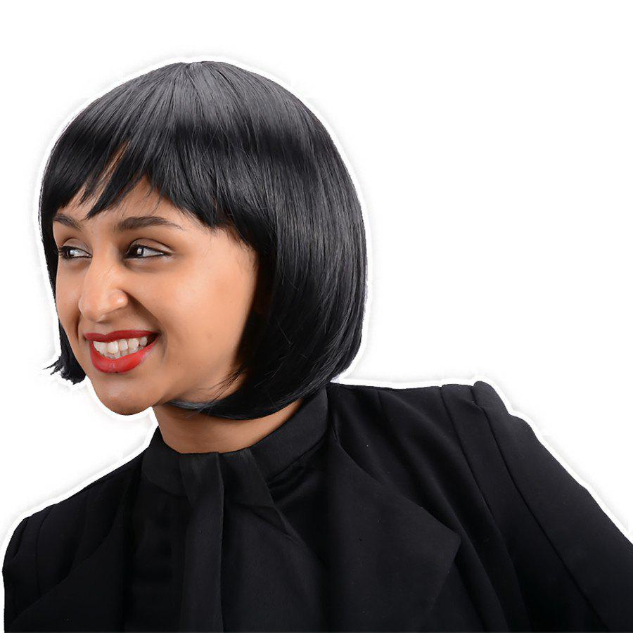 Cute Short Straight Oblique Bang Synthetic Wig - BLACK