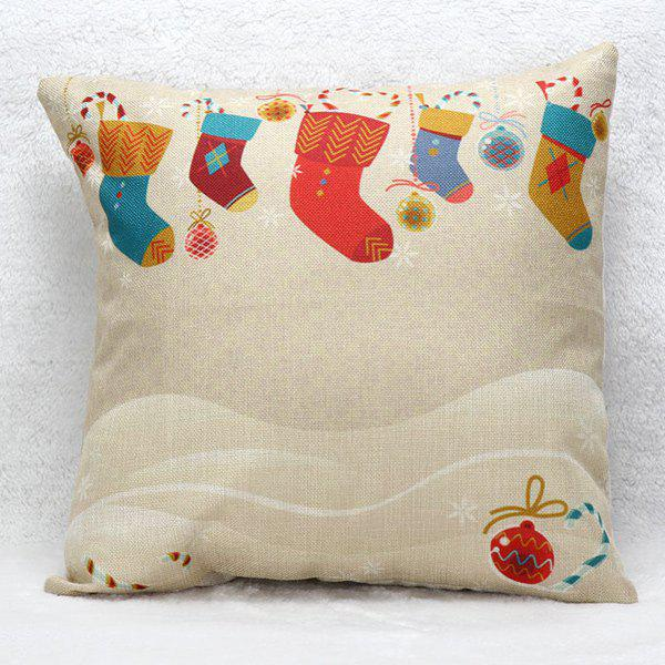 Christmas Sock Cushion Pillow Cover Home Decoration christmas sock linen cushion throw pillow cover
