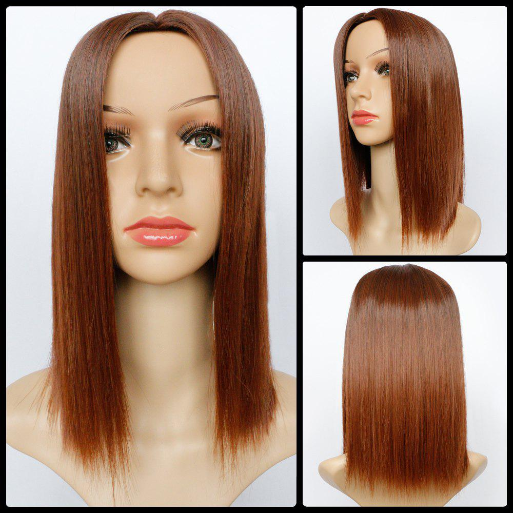 Noble Medium Brown Ombre Synthetic Silky Straight Capless Centre Parting Wig For Women - BROWN