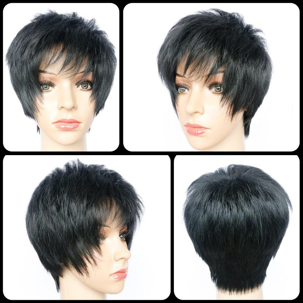 Pixie Cut Side Bang Short Straight Heat Resistant Fiber Wig - BLACK
