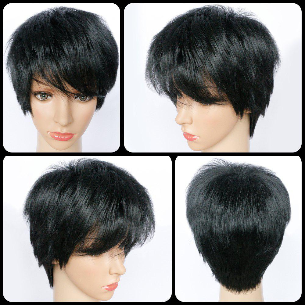 Skilful Pixie Cut Side Bang Short Straight Synthetic Capless Wig - BLACK
