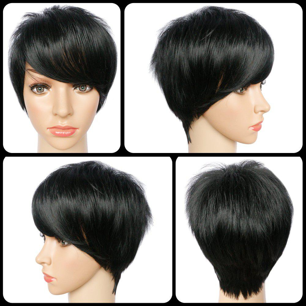 Spiffy Pixie Cut Side Bang Short Straight Synthetic Capless Wig - BLACK