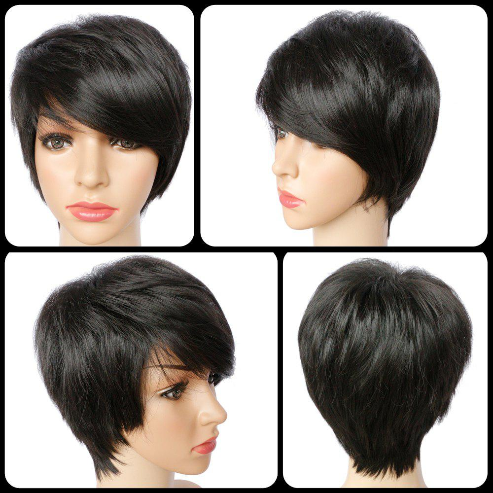 Spiffy Short Pixie Cut Straight Synthetic Side Bang Capless Wig - BLACK