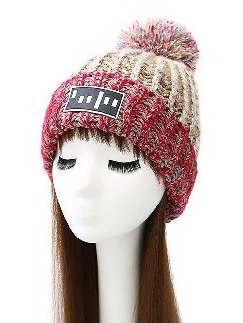 Pom Ball Stripy Flanging Knitted Beanie - Black