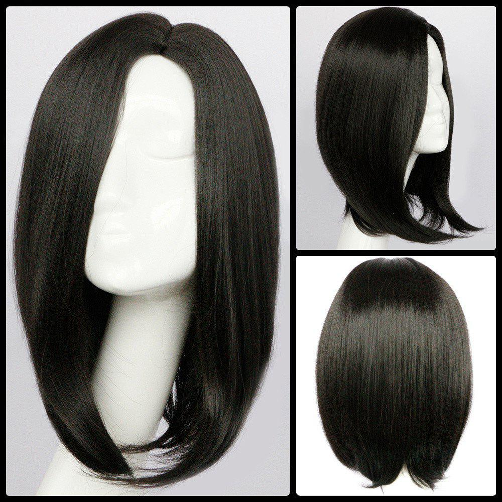 Medium Straight Side Parting Synthetic Wig - BLACK