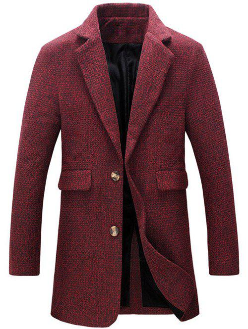 Cotton Blends Turndown Collar Single Breasted Woolen Coat - RED L