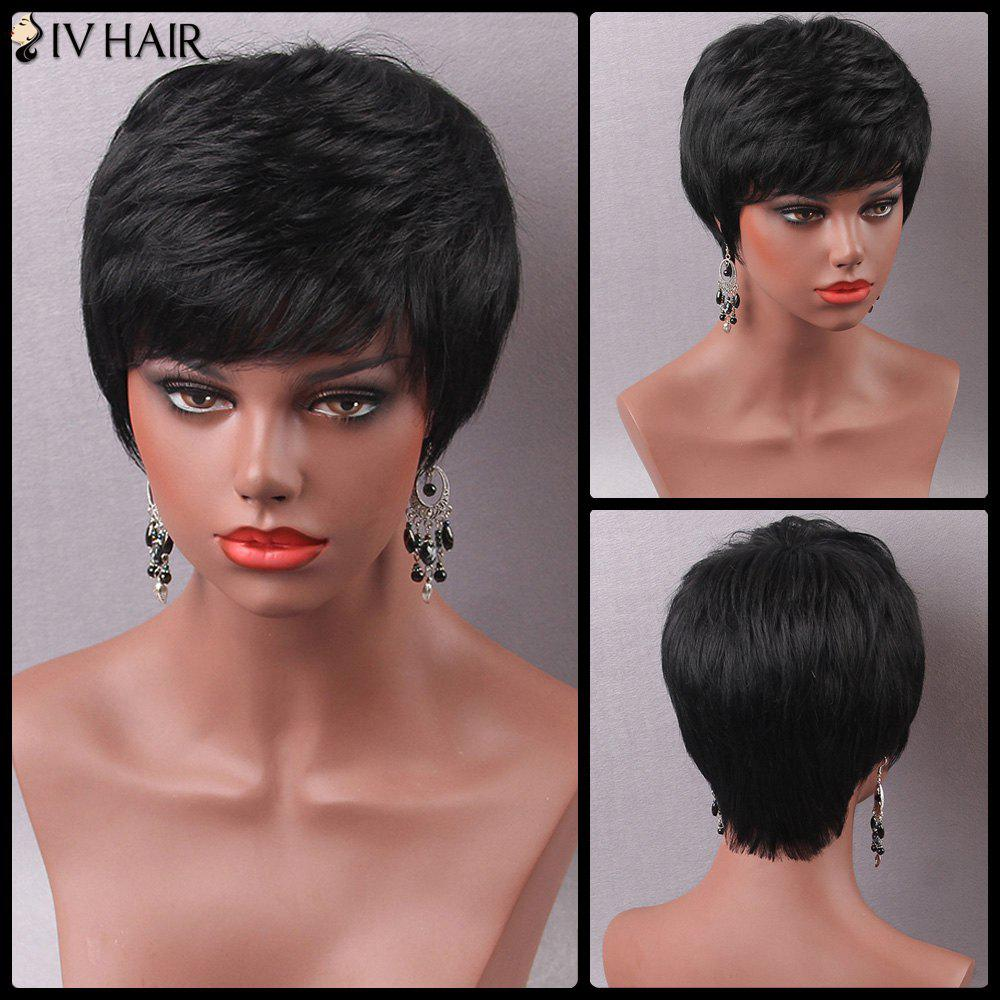Manly Ultrashort Fluffy Side Bang Human Hair Capless Wig For Women - JET BLACK