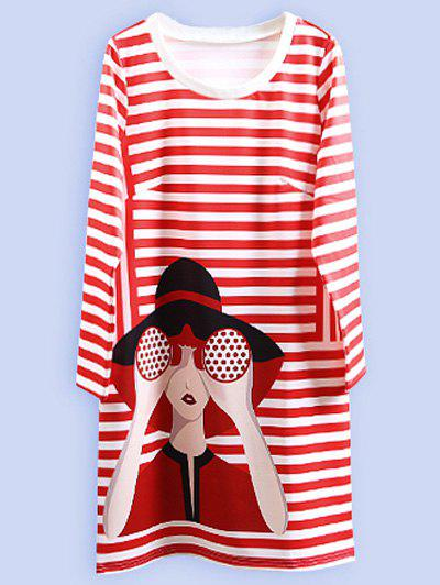Robe Oversize A Rayures - Rouge 2XL
