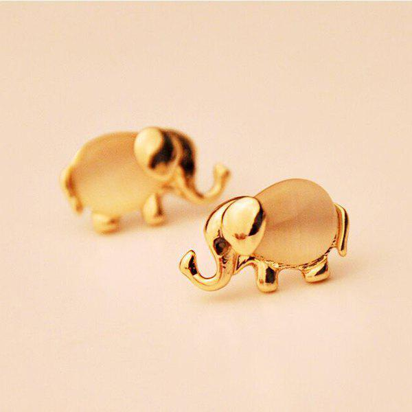 Faux Opal Elephant Shaped Stud Earrings - GOLDEN