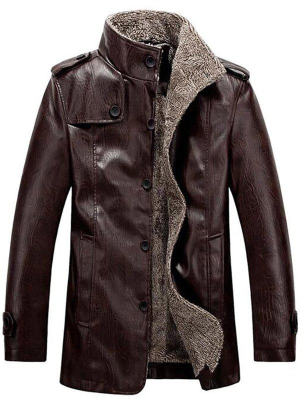 Flocking Stand Collar Single Breasted PU-Leather Jacket snap front stand collar flocking denim jacket