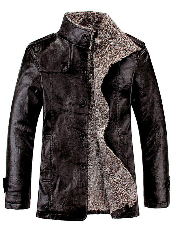 Flocking Stand Collar Single Breasted PU-Leather Jacket - BLACK M