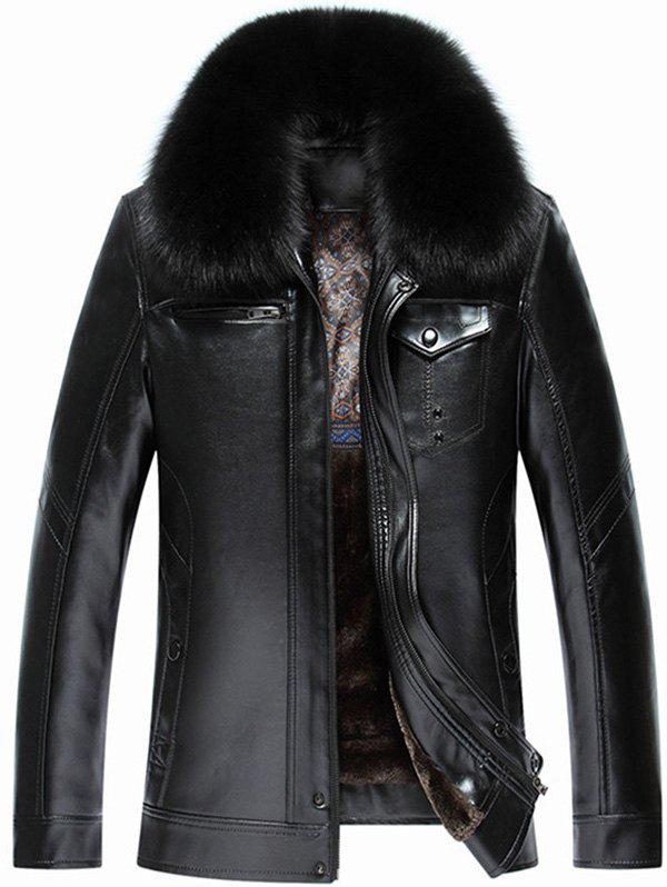 Pocket Faux Fur Collar Zip Up Flocking PU Leather JacketMen<br><br><br>Size: XL<br>Color: BLACK
