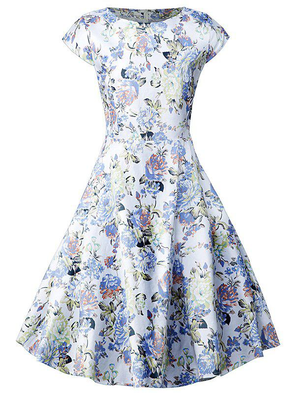 Vintage Blossom Print Swing Dress - FLORAL S