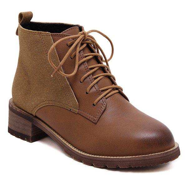Suede Panel Lace Up Ankle Boots almond toe velvet panel ankle boots