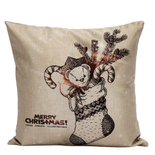 Christmas Gift Sock Cushion Home Office Pillow Cover christmas sock linen cushion throw pillow cover