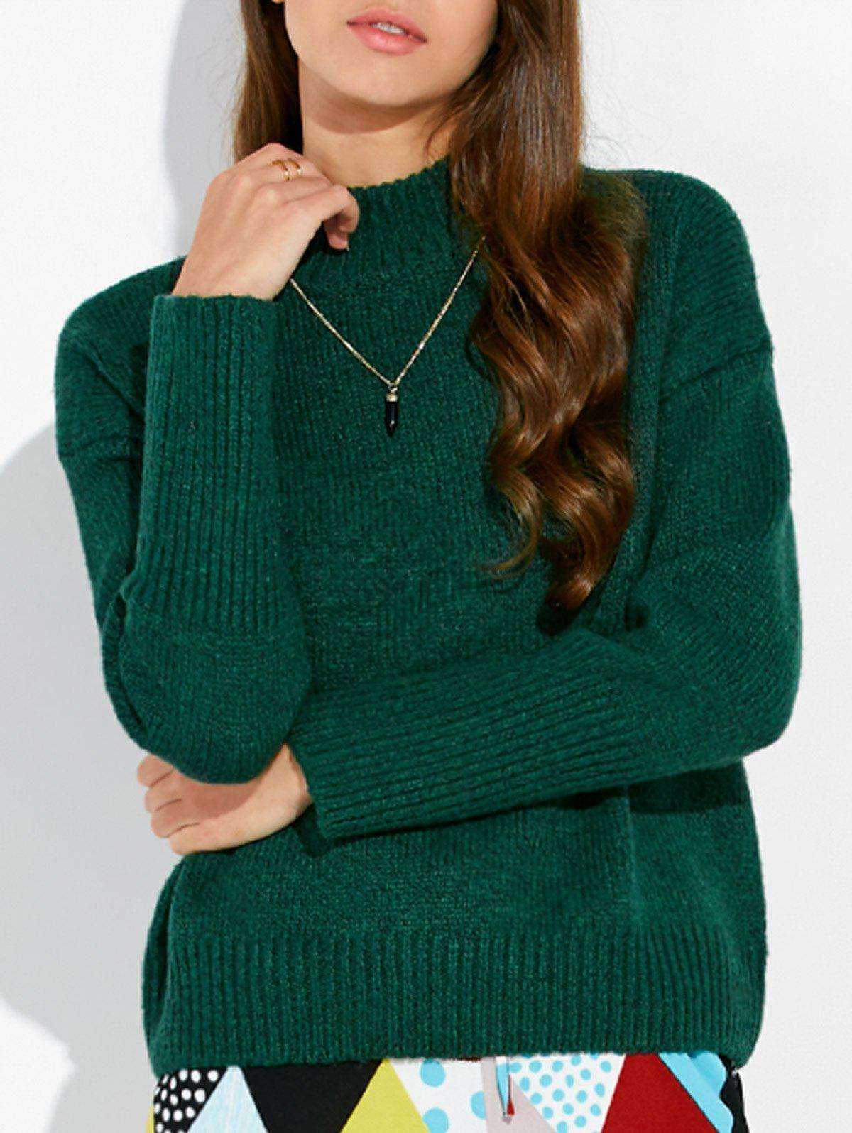 Mock Neck Loose Sweater - GREEN ONE SIZE