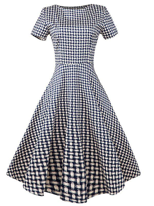 Vintage Slim Fit Plaid Swing Dress - BLUE PLAID L