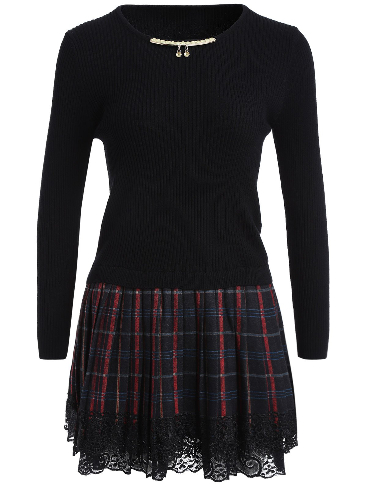 Chain Checked Layered Sweater Skater Dress - BLACK ONE SIZE