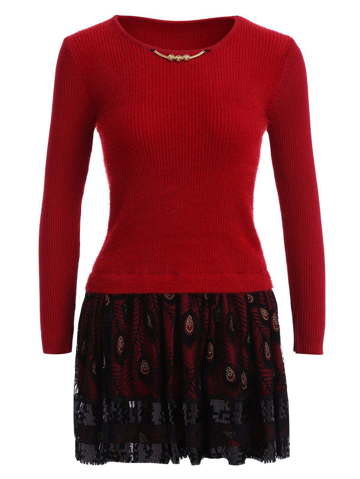 Feather Printed Fuzzy Sweater Dress - RED ONE SIZE