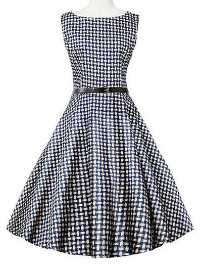 Sleeveless Plaid Swing Dress - BLUE PLAID XL