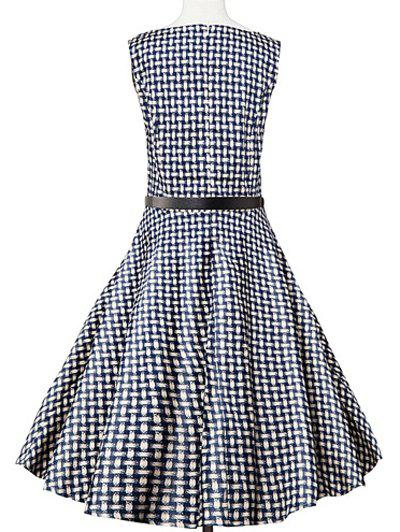 Sleeveless Plaid Swing Dress - BLUE PLAID L