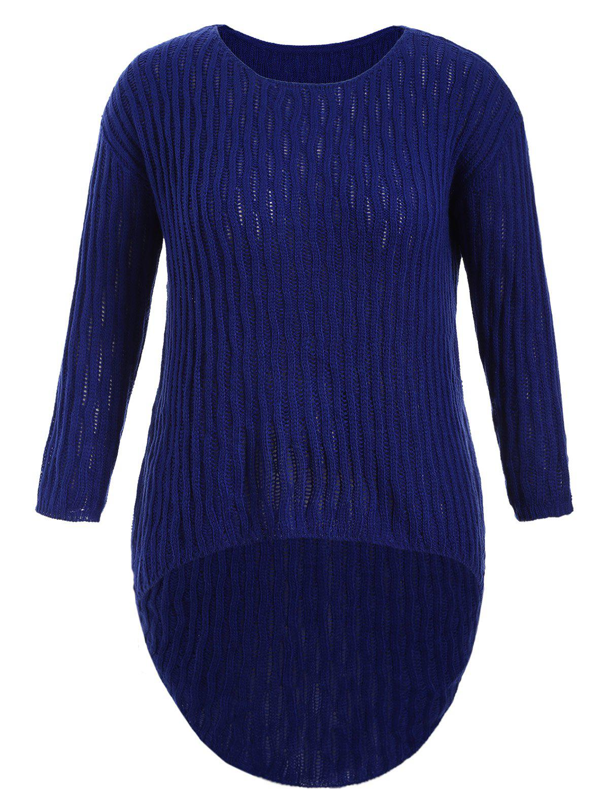 Plus Size Ribbed Knit Dip Hem Sweater plus size ribbed knit asymmetric sweater